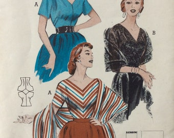 Butterick 6785 misses pullover blouse & stole size 12 bust 30 vintage 1950's sewing pattern