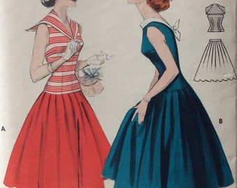 Butterick 7325 vintage 1950's juniors two-piece middy dress sewing pattern size 15 bust 33