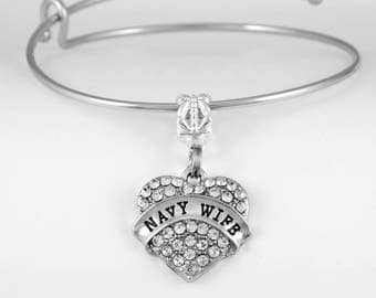 Navy Wife Bracelet Navy wife charm jewelry Sailors wife Patriotic American Naval wife European Style Bracelet