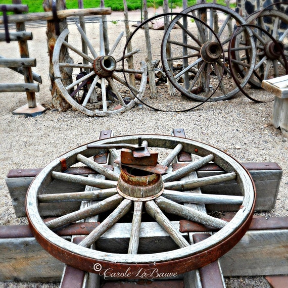 WAGON WHEEL ~ Utah Travel Photography ~ Country Rustic Wall Art ~Americana, Western, Frontier, Pioneer Art ~ Square Format ~ UT8