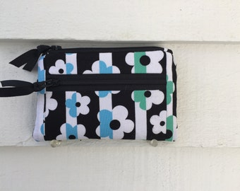 Floral Fabric Wallet, Womens Zipper Wallet, Womens Fabric Wallet, Small Zipper Wallet, Zipper Pocket Wallet, Black and Blue Wallet