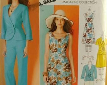 Size 8-16 Vintage 1983 Princess Seam Dress, Gathered Front Jacket Wide Leg Pants Sewing Pattern