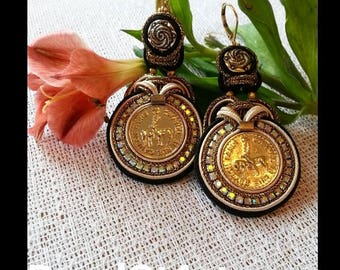 """Soutache earrings """"Bambi Chanel"""" with authentic Coco Chanel buttons.  This kind is extremely rare.  Vintage from the 90s."""