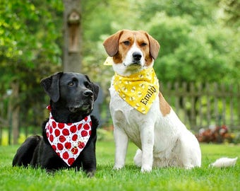 Personalized Bumble Bee Pet Bandana || Bees Reversible Yellow with Orange Dots Dog Scarf ||  Custom Puppy Gift by Three Spoiled Dogs