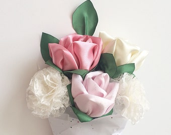 Roses, fabric flowers, fabric bouquets, bridesmaids bouquets, long stem roses