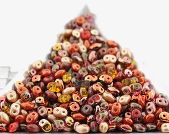 20g Czech SuperDuo 2 hole beads AUTUMN Maple BUTTERUM TOAST Mix / Custom mix Fall 2017 mix 2.5x5mm [C15]