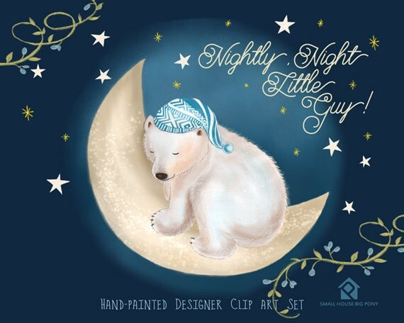 Digital Clipart- Watercolor Flower Clipart, polar bear Clip art, Floral Bouquet Clipart- Sleeping Polar Bear