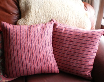 Tweed cushion cover. Wool cushion cover. Pink cushion cover. Stripe cushion cover. Wool pillow cover