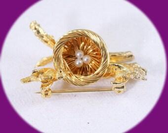 Vintage Pearl Brooch Gold Tone Pearl Brooch Vintage Jewelry Gold Brooch Birds and Bird nest Brooch
