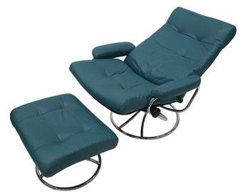 Ekornes Scandinavian Mid Century Reclining Lounge Chair and Ottoman