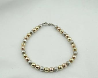 Simple Tri-Color Hollow Ball Sterling Silver Bracelet with Toggle Clasp  #TRICOLOR-LB3