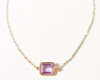 The Kelly Necklace, crystal necklace, amethyst necklace, clear quartz necklace
