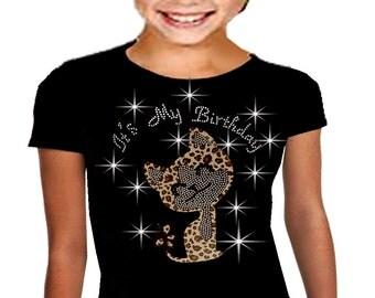 Bling Bling It's My Birthday T-shirt,  Rhinestone T-Shirt Cute Cheetah 10, 12
