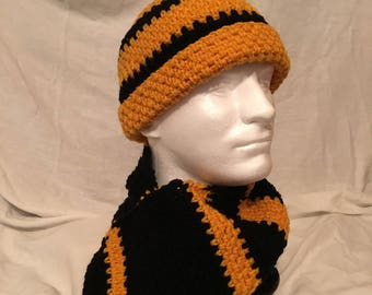 Black and Gold Men's Hat and Scarf
