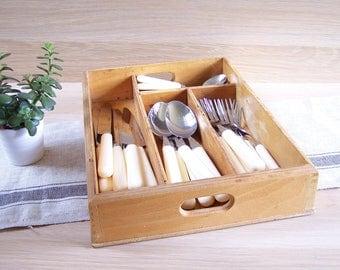 Cutlery box wooden cutlery rack| France vintage 1980