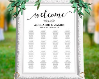 Wedding Seating Chart Template, Wedding Seating Chart Poster, Minimalist Elegant Seating Chart, Editable, Modern Calligraphy, VW10