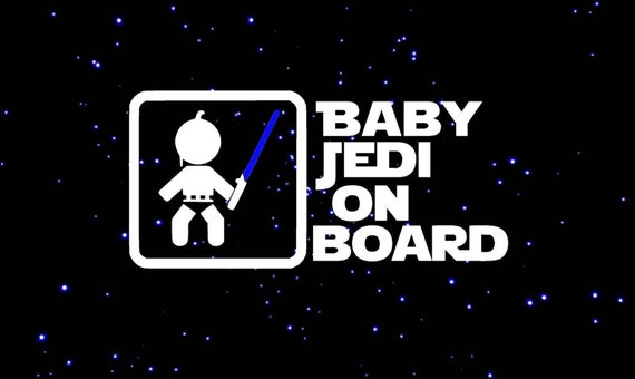Baby Jedi on Board with Blue Light Saber - Darth Vader  Star Wars Decal  - Star Wars Car Decal - Star Wars Sticker - Laptop Decal