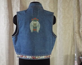 Upcycled Motorcycle/Cowgirl Chic Jean Denim Vest w Skeleton Decal