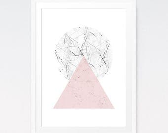 Scandinavian poster, Minimalist wall art, Triangle wall decal, Pink wall art, Scandinavian triangle, Marble print, Scandinavian art