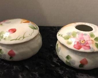 Vintage Set Hand Painted Powder Jar and Hair Receiver Made In Japan Dresser set