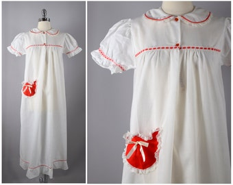 vintage 50s DEADSTOCK white pinstripe cotton nightgown with red patch pocket and ribbon detail  ⟢ nos 1950s lace trim sleepwear vtg 50s