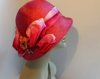 Cloche Hat 1926 Reproduction Parasisal Straw Rose Color