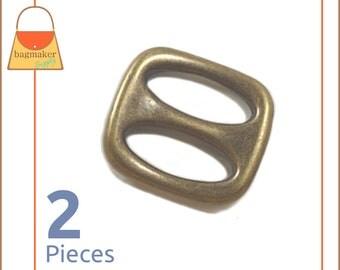 "1 Inch Slides, Antique Brass / Bronze Finish, 2 Pieces, 1"" Sliders, Handbag Purse Bagmaking Hardware Supplies, BKS-AA028"