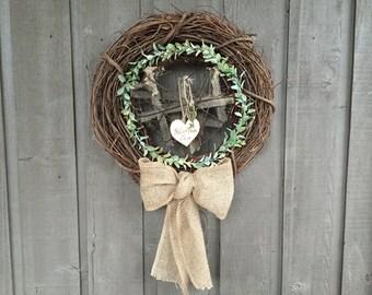 Wedding wreath/ eucalyptus wreath/ heart wreath/ metal heart wreath/ burlap wreath/ industrial wedding wreath/ garden wedding wreath/ wreath