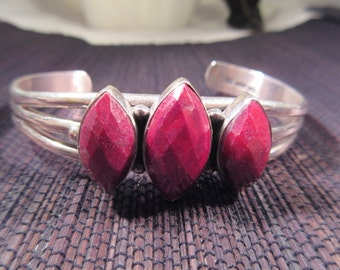 Chic Sterling Silver Raspberry Colored Gemstone Cuff Bracelet