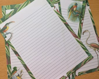 Vintage Tropical Birds Writing Paper-Note Paper-Stationery