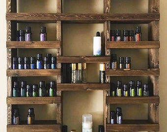 Essential Oil Shelf, Essential oil storage, nail polish rack, wood shelf, hanging shelf, essential oil holder, Holds over 325 bottles