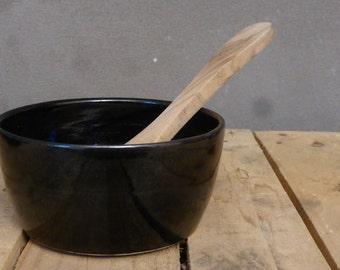 Black bowl, wheelthrown - for soup, muesli, breakfast, dessert