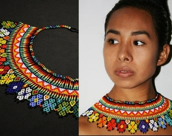Beautiful Embera Huichol Fusion Necklace, Native American Beaded Necklace, Tribal Bib Necklace, Tribal Fashion Necklace, Colorful Floral