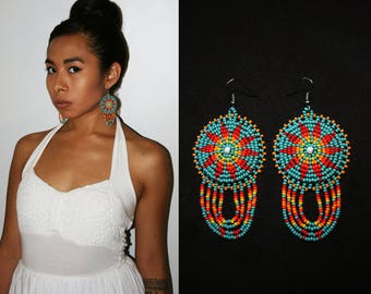 Beautiful Turquoise Bohemian Sun Earrings, Native American Beaded Earrings, Beaded Boho Earrings, Tribal Sun Earrings, Small Medallions