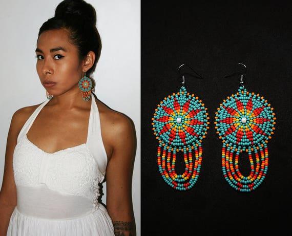 Beautiful Turquoise Bohemian Sun Earrings, Native American Style Beaded Earrings, Beaded Boho Earrings, Tribal Sun Earrings, Small Medallion