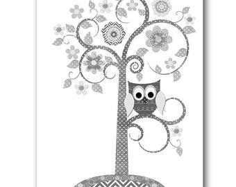 Gray Playroom Art Digital Download Tree Nursery Art Digital Art Baby Boy Nursery Printable Art Instant Download Kids Room Art 8x10 11X14