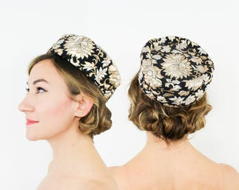 60s Black Brocade Pillbox Hat | Metallic Brocade Pillbox