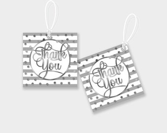 Thank You Favor Tags / Gift Tags - Silver Stripes and Dots - Digital File, DIY Print - Instant Download - #GSR
