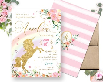 Rainbow Unicorn Birthday Invitation, Pastel Rainbow Unicorn Invitations , Unicorn Birthday Invitation, Unicorn Party digital printable DIY