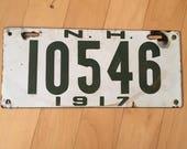 1917 New Hampshire Porcelain License Plate