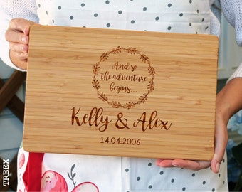Personalized cutting board, custom bamboo chopping board, wedding gift cheese and wine wooden board by TreeX