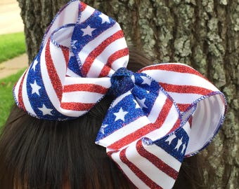 "XL Glitter Fourth of July bows - 5, 6 or 7"" fourth of july bows - extra large fourth of july bows - big fourth of july bow -"