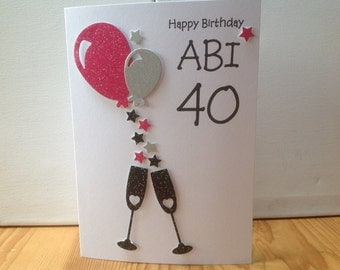 Handmade personalised birthday card- 18th,21st,30th,40th,50th etc, personalised with name and age