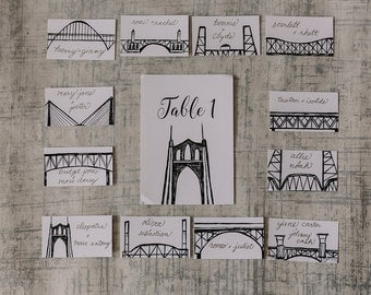 Portland Bridges Escort Cards | Portland Oregon | Hand Drawn Wedding Escort Cards | Place Cards