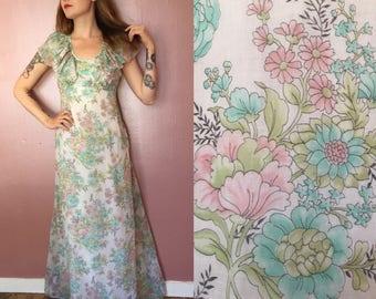 Small 1970s floral maxi dress