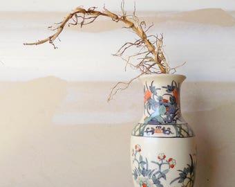 1960s Japanese Porcelain Vase / Hand Painted Flower Vase / Chrysanthemums Lotus Flower / Oriental Home Decor