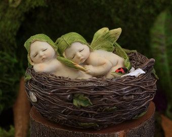 Fairy Garden  - Sleeping Fairy Twin Babies In Nest - Miniature