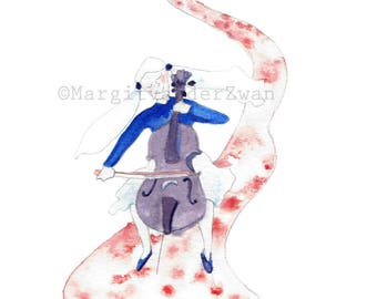 Cello Girl - Limited edition Giclee Print - hand painted in Manchester using watercolours and love