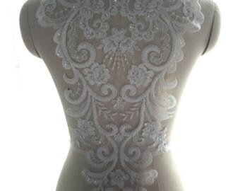 1pc Ivory Bead Pearl Lace Super Luxury Lace Appliques Exquisite For Wedding Dress Grown Bridal Veil