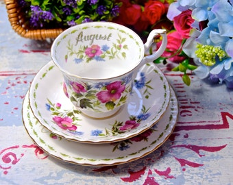Royal Albert Flower of the month series / August poppy trio tea set / Poppy tea set / Royal Albert August trio tea set / British trio set